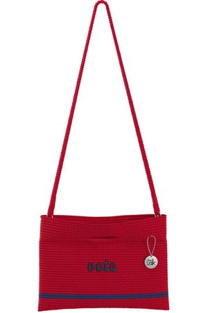 The Sak Custom Recycled Ocean Crochet Convertible Crossbody Vote Red Block Bag