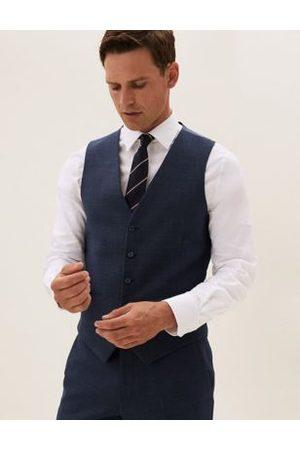 Marks & Spencer Navy Wool Textured Waistcoat, Navy