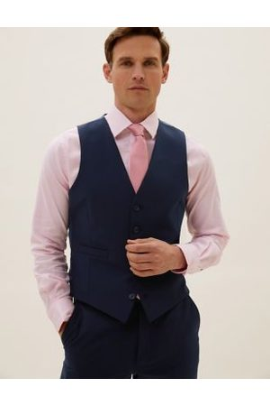 Marks & Spencer The Ultimate Navy Slim Fit Waistcoat with Stretch, Navy