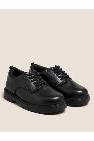 Kids' Leather Elastic Lace School Shoes (8 Small