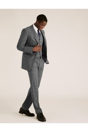 Marks & Spencer Charcoal Checked Wool Waistcoat