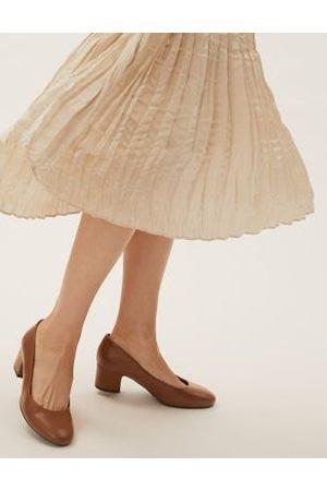 Marks & Spencer Wide Fit Block Heel Court Shoes