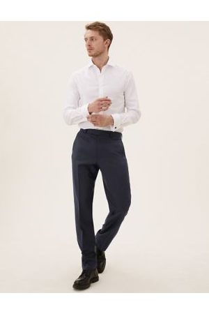 Marks & Spencer Navy Regular Fit Wool Trousers, Navy