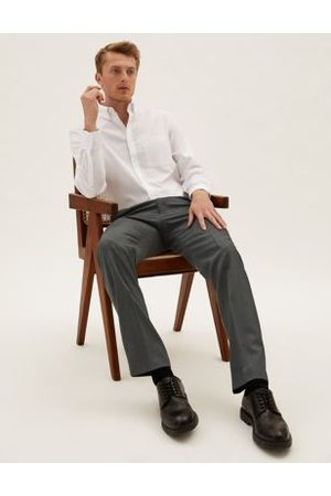 Marks & Spencer Tailored Fit Pure Wool Flat Front Trousers