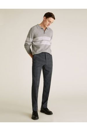 Marks & Spencer Tailored Fit Wool Check Trousers