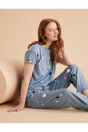 Marks & Spencer Cotton Heart Print Pyjama Set