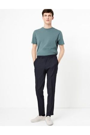 Marks & Spencer Big & Tall Navy Regular Fit Wool Trousers, Navy