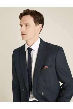 Marks & Spencer Navy Tailored Fit Double Breasted Jacket, Navy