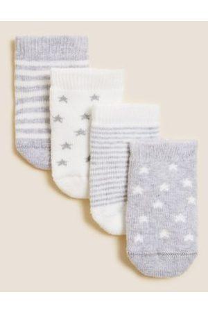 4pk Cotton Terry Baby Socks (0-24 Mths)
