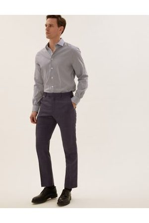 Marks & Spencer Tailored Fit Pure Wool Check Trousers