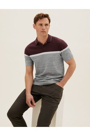 Marks & Spencer Cotton Colour Block Knitted Polo Shirt