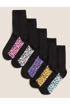 5pk Cotton Leopard Print Socks