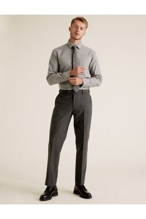 Marks & Spencer The Ultimate Charcoal Tailored Fit Trousers, Charcoal