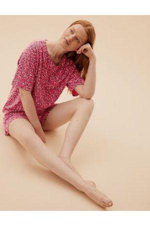 Marks & Spencer Cotton Animal Print Short Pyjama Set