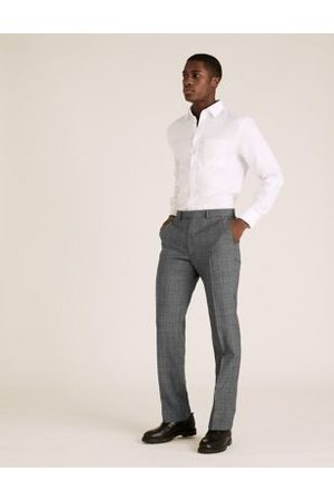 Marks & Spencer Charcoal Checked Wool Trousers, Charcoal