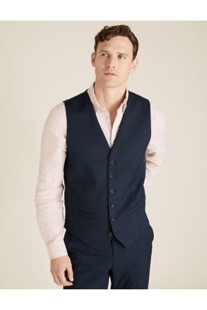 Marks & Spencer Navy Tailored Fit Waistcoat with Stretch, Navy