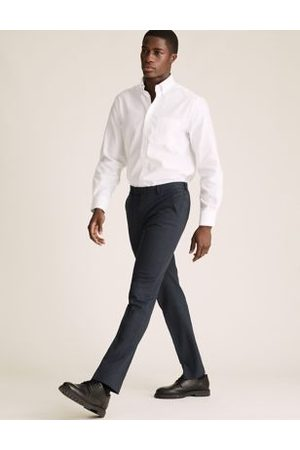 Marks & Spencer Navy Tailored Fit Micro Texture Trousers, Navy