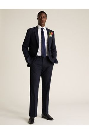 Marks & Spencer Navy Regular Fit Check Trousers