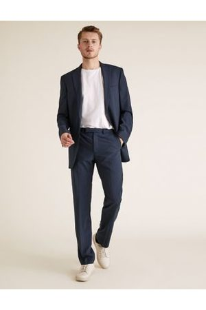 Marks & Spencer Big & Tall The Ultimate Navy Regular Fit Wool Trousers, Navy