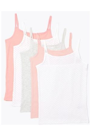 5 Pack Cotton Spotted Camisole Vests (2-16 Yrs)