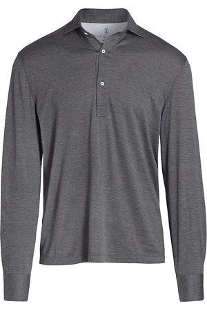 Brunello Cucinelli Long-Sleeve Jersey Polo Shirt