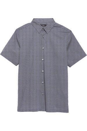 THEORY Irving Geometric-Print Cotton Short-Sleeve Shirt