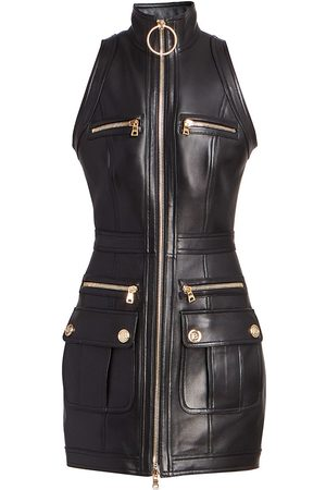 Balmain Leather Zip-Up Minidress