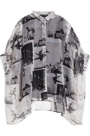Persona by Marina Rinaldi Favilla Printed Silk Organza Shirt