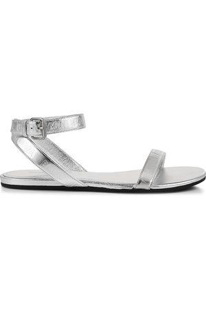 Balenciaga Round Metallic Leather Sandals