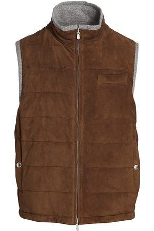 Brunello Cucinelli Zip-Up Suede & Cashmere Vest