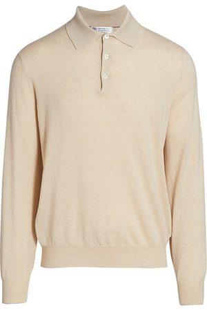 Brunello Cucinelli Long-Sleeve Cashmere Polo Sweater