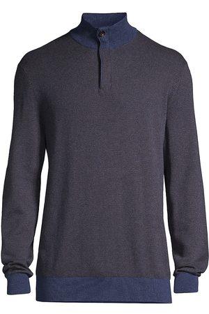 Ermenegildo Zegna Birdseye Cotton & Cashmere Quarter Zip Sweater
