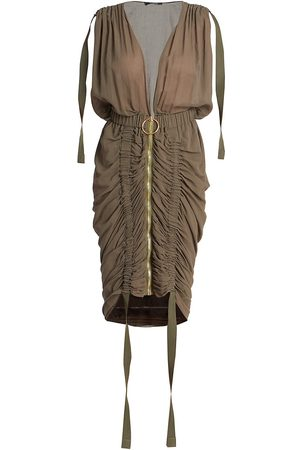 Balmain Sleeveless V-Neck Draped Dress