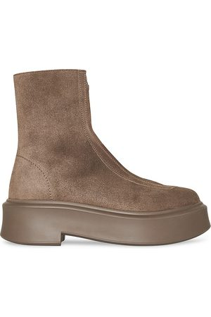 The Row Suede Zipped Platform Boots