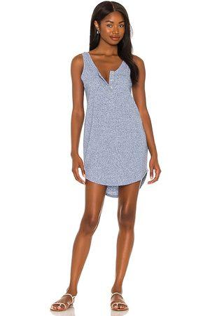 Chaser Linen Rib Henley Dress in Blue.