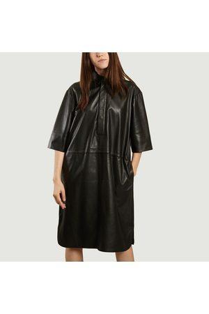 Second Female Indie leather midi dress Caviar