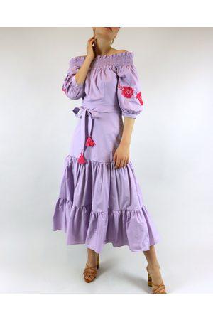Rosa Dahlia Lis Embroidered Off Shoulder Lavender Dress