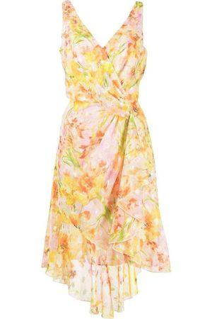 Marchesa Notte Daffodil Sleeveless Burnout Chiffon Wrap Dress