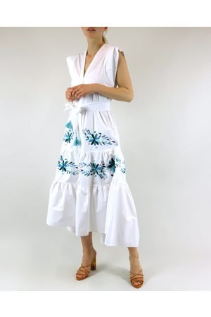 Rosa Dahlia Priscila Embroidered Belted Midi Dress