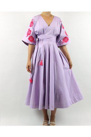 Rosa Dahlia Lis Embroidered Lavender Midi Dress
