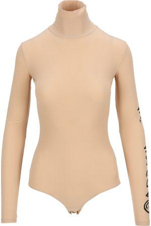 MM6 MAISON MARGIELA Logo-print roll neck bodysuit