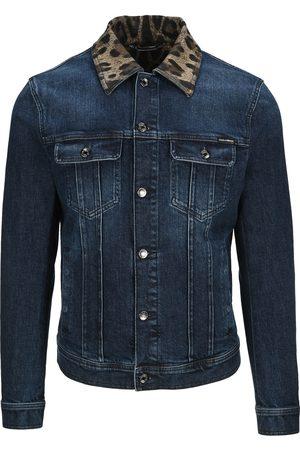 Dolce & Gabbana Leopard-print collar denim jacket