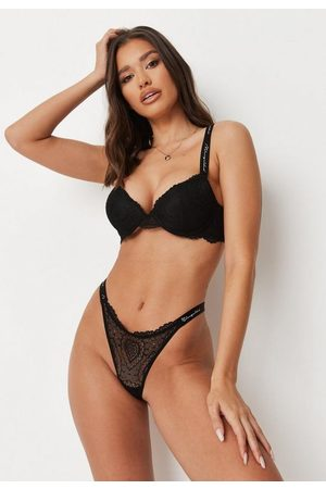 Missguided Lace Script Padded Push Up Bra