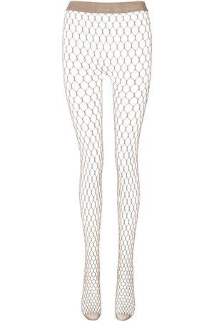 Wolford Women Stockings - X Amina Muaddi crystal-embellished fishnet tights