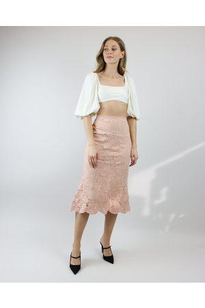 Miss Mano Peach Lace Midi Skirt