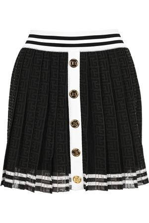Balmain White and pleated skirt with monogram