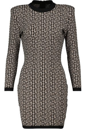 Balmain Women Knitted Dresses - Jacquard knit minidress
