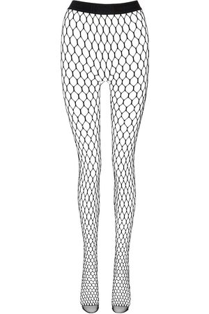 Wolford X Amina Muaddi crystal-embellished fishnet tights