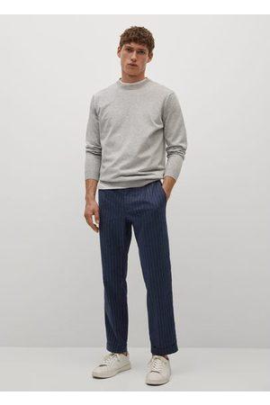 MANGO Striped slim-fit linen trousers