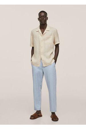MANGO Men Shirts - Regular-fit linen bowling shirt